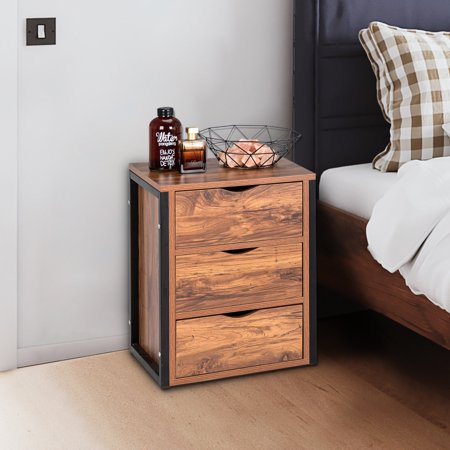 ROBOT-GXG Nightstand with Drawers - Nightstand Industrial Style - 3-Drawer Nightstand Retro Industrial Bedside Table End Table with Steel Frame Bedside Storage Cabinet for Bedroom Living Room