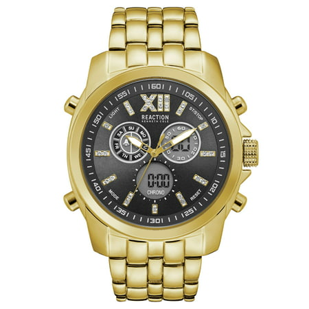 Kenneth Cole New York Silver Dial Watch - Kenneth Cole Reaction Men's Gold Case Black Dial Gold Bracelet Watch