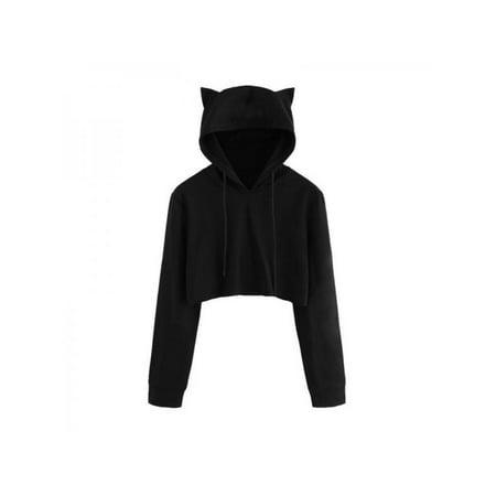 EFINNY Women Teen Girls Cute Cat Ear Sweatshirt Crop Top Hoodies Long Sleeve Pullover