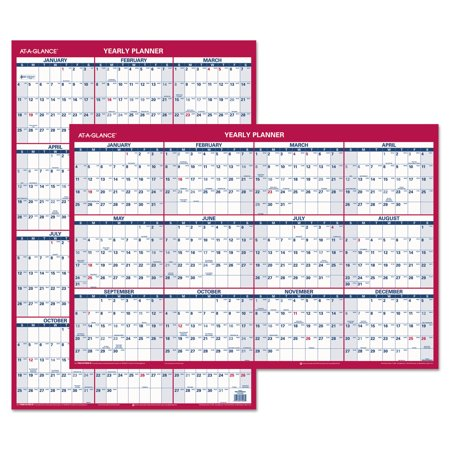(AT-A-GLANCE PM26-28 Erasable Vertical/Horizontal Wall Planner, 24 X 36, Blue/Red, 2017)
