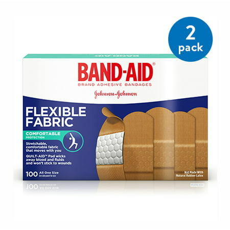 (2 Pack) Band-Aid Brand Flexible Fabric Adhesive Bandages, One Size, 100 ct