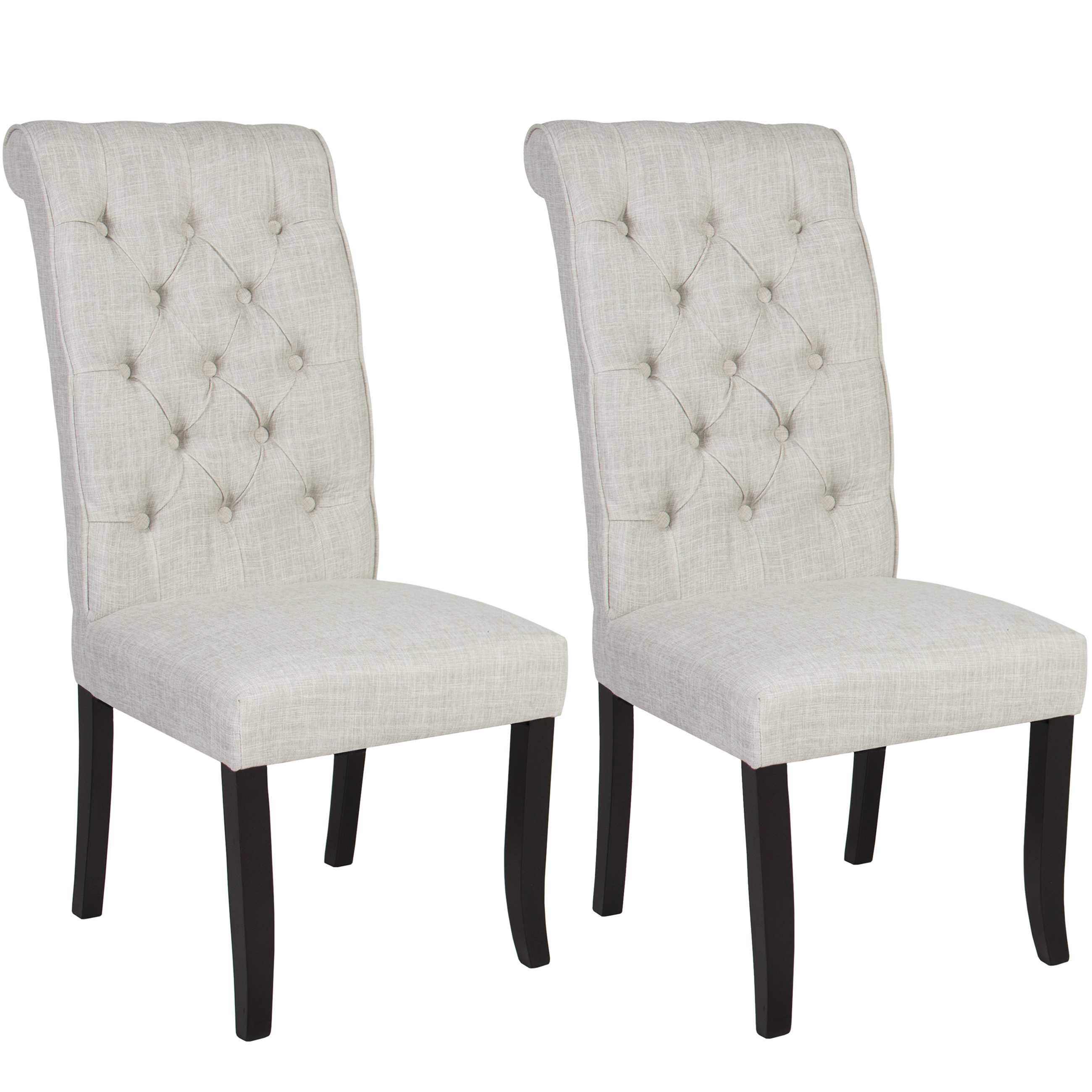 Best Choice Products Set of 2 Modern Linen Tufted Parsons Dining Side Chair Home Furniture w/ Wooden Frame - White