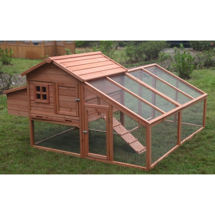 "73"" Huge Solid Wood Chichken Coop House with Running Cage & Nesting Boxes"