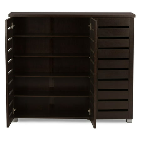 Baxton Studio Adalwin Modern and Contemporary 3-Door Dark Brown Wooden Entryway Shoes Storage Cabinet Broan Recessed Steel Cabinets