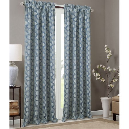 Olivia Gray Kayla Floral Textured Jacquard 53 x 84 in. Single Rod Pocket Curtain Panel in Blue Pink Floral Jacquard