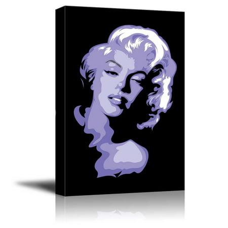 Artistic Portrait of Marylin Monroe in Purple Color Pop Art - Canvas Art Wall Decor - 12