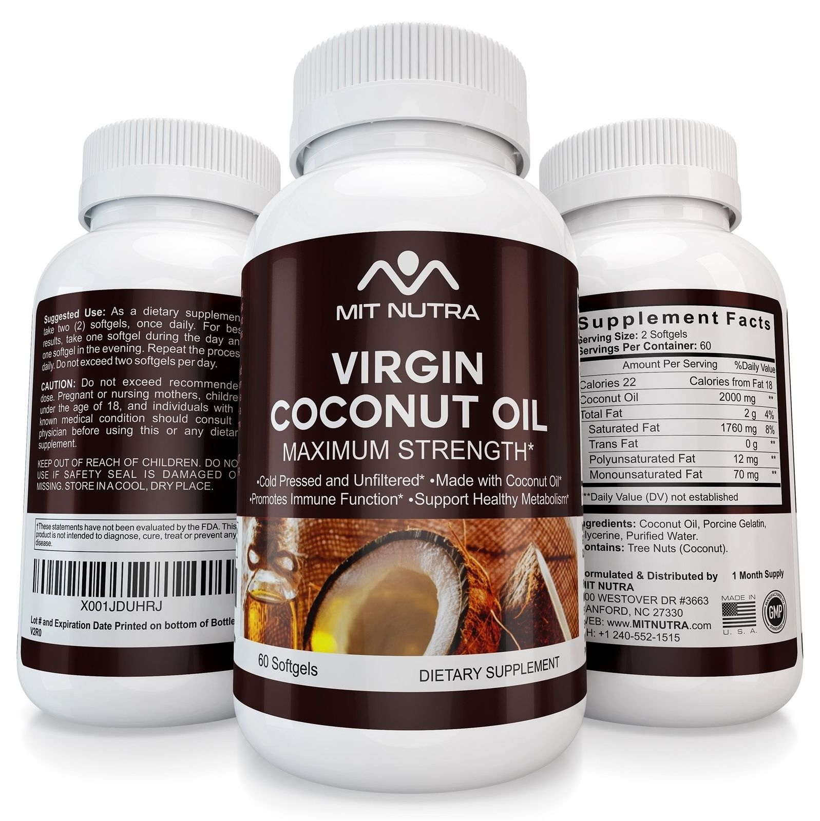 Unrefined Coconut Oil | Extra Virign | Gel Capsules | Supplement | Cold Press...