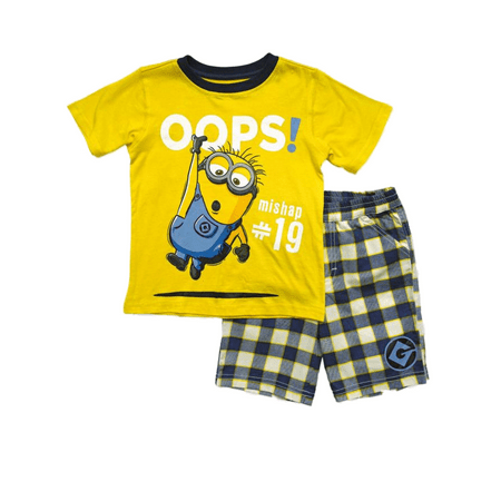 Despicable Me Toddler Boys Yellow Hanging Minion Oops Baby Outfit Shorts Set