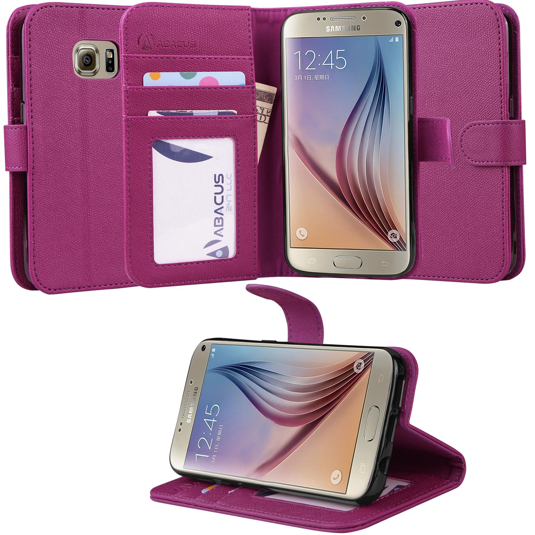 Abacus24-7 Galaxy S7 Case, Wallet with Flip Cover, Credit Card Holders & Stand, Purple