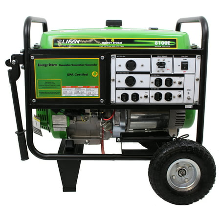 Lifan Energy Storm 8100E, 15hp OHV 420cc, 4-Stroke Industrial Grade, Keyless Push Button Electric/Recoil Start, Gasoline Powered Portable Generator ()