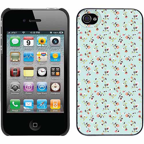 Floral Print On Powder Blue Design on Apple iPhone 4/4s Thinshield Snap-On Case by Coveroo