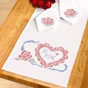 Herrschners  Valentine Table Runner & Napkins Stamped Cross-Stitch