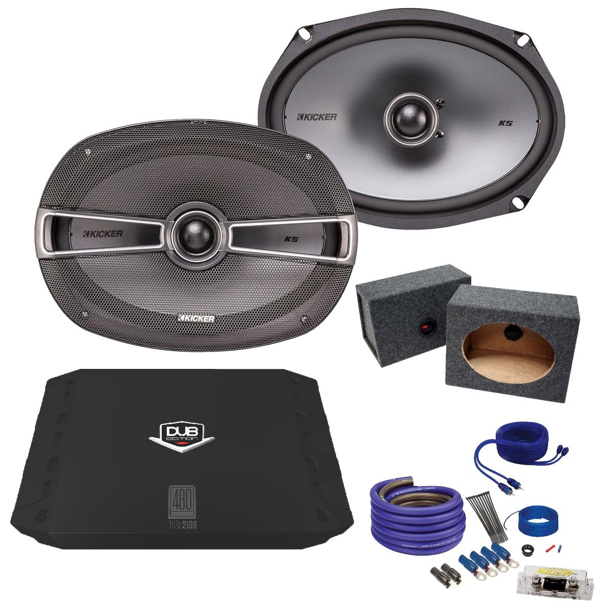 Kicker 6x9 41KSC694 Bundle with DUBA2100 200 Watt Amplifier + Enclosure + Wire Kit