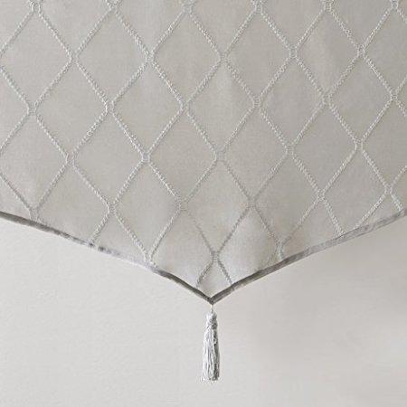 "Irina Diamond Sheer Embroidered Ascot Valance Grey 50x22"" - image 3 de 4"