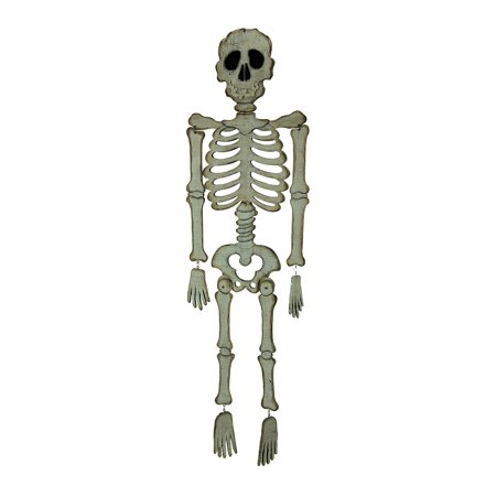 White Wood Large Scary Skeleton Hanging Halloween Decoration