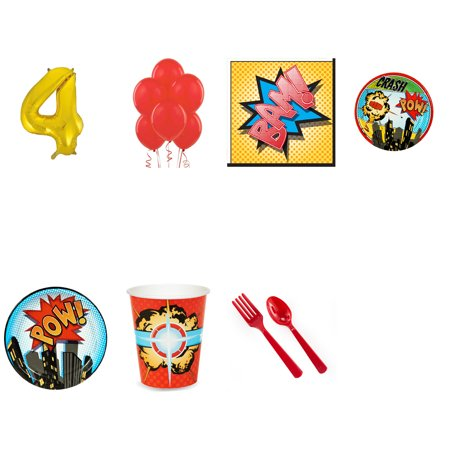 Superhero Comics Party Supplies Party Pack For 16 With Gold #4 Balloon](Superheroes Party Supplies)