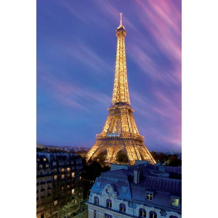 "Eiffel Tower At Dusk Paris France City Sky 24"" x 36"" Poster"