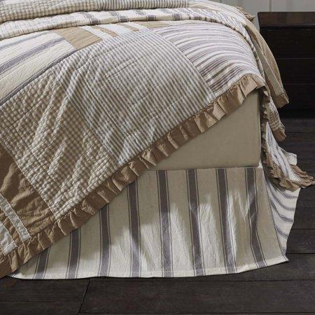 Crochet Tailored Split Corner Bedskirt - Creme White Farmhouse Bedding Vintage Stripe Cotton Split Corners Tailored Striped King Bed Skirt