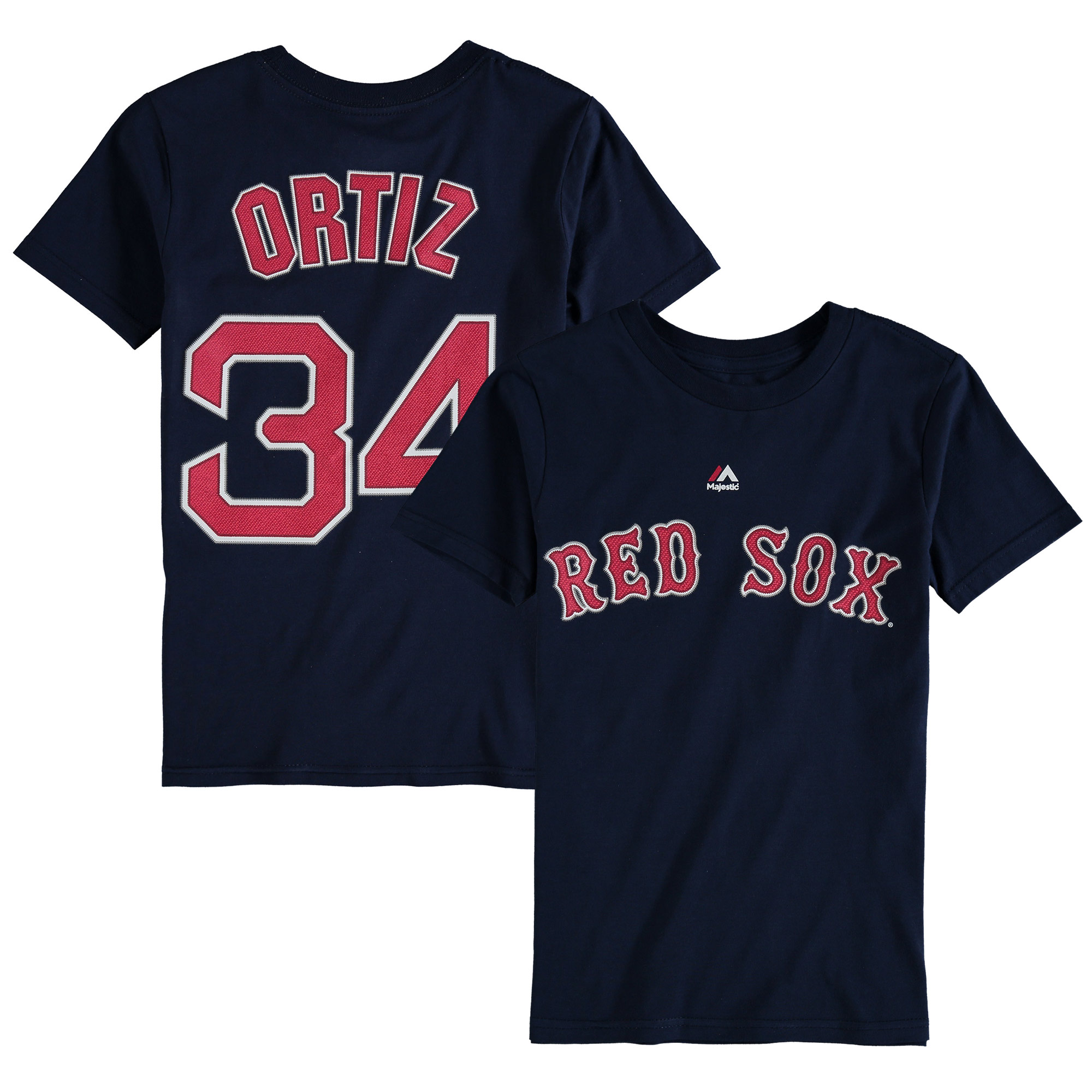 david ortiz boston red sox majestic youth player name & number t-shirt - navy