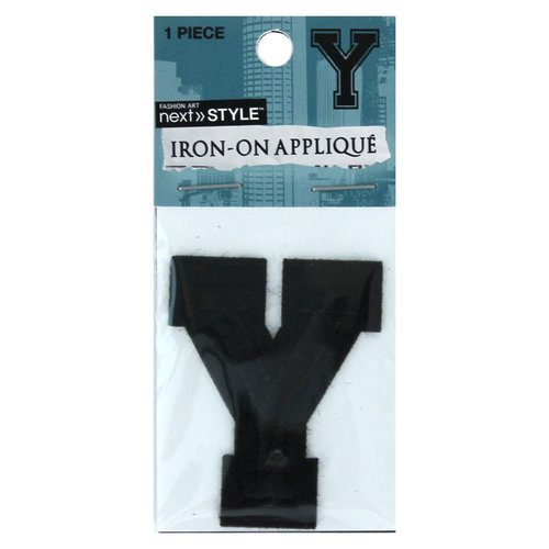 "Next Style Single Embroidery Letter, ""Y"", Black"