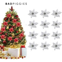 BadPiggies 12pcs 15cm Glitter Artificial Flowers Christmas Tree Ornaments Poinsettia Artificial Flowers for Christmas Home Wedding Party Decorations,Red