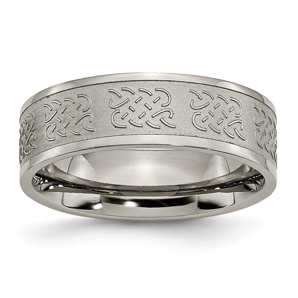 Men's Titanium Satin and Polished Fancy Design Wedding Band Ring