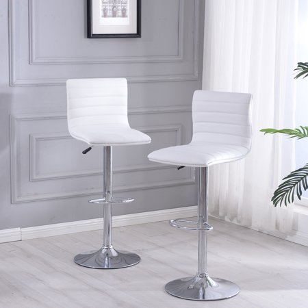 Belleze Set of (2) Modern Faux Leather Swivel Adjustable Barstools Hydraulic Counter Stools, White