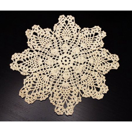 Martha Stewart Doily Lace - Handmade Crochet Lace Pineapple Beige Doily. 10 Inch Round. 100% Cotton. 4 Pieces.