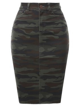 A2Y Women's Slim Fit Rayon Knee Length Back Slit Denim Jean Pencil Skirt Light Navy 1XL