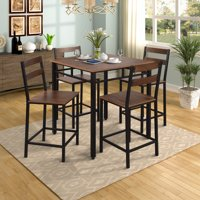 Harper&Bright Designs 5-Piece Counter Height Dining Set, Vintage Oak