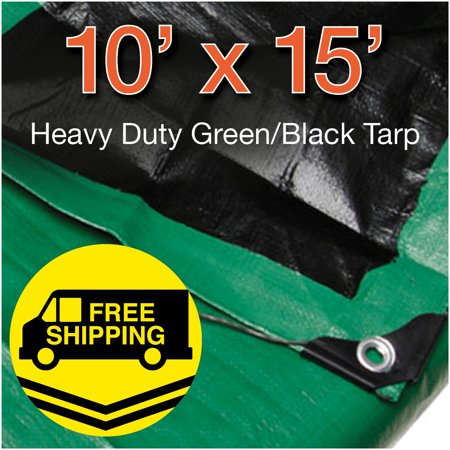 Heavy Duty Green Poly Tarp (10 x 15 Heavy Duty Green/ Black Poly Tarp Water Proof Cover Tent RV Tarpaulin)
