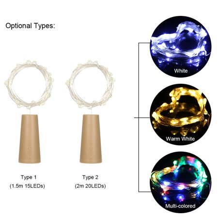4.5V 0.9W 1.5Meters 15 LED Copper Wire Fairy String Light White Twistable Bendable Foldable Bottle Stopper Lamp IP65 Water Resistance for Christmas Xmas Holiday Festival DIY Home Party Decoration Pre - image 4 of 7