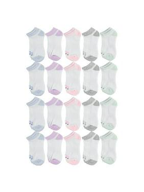 Locker Room Girls Socks, 20 Pack No Show Athletic (Little Girls & Big Girls)