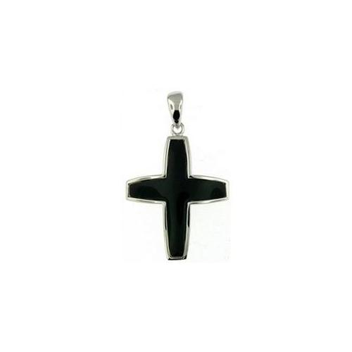 Doma Jewellery DJS03425 Sterling Silver (Rhodium Plated) and Black Onyx Cross Pendant and Extension Leather Necklace