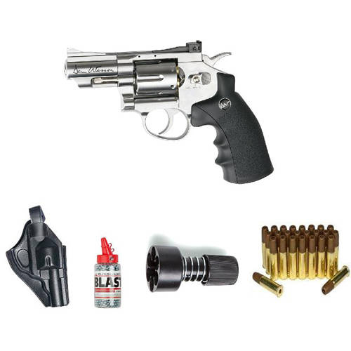 "ASG Dan Wesson Revolver Steel BB Air Gun with Holster Cartridges Extra BBs Speed Loader, Silver, 2.5"" by Action Sport Games"