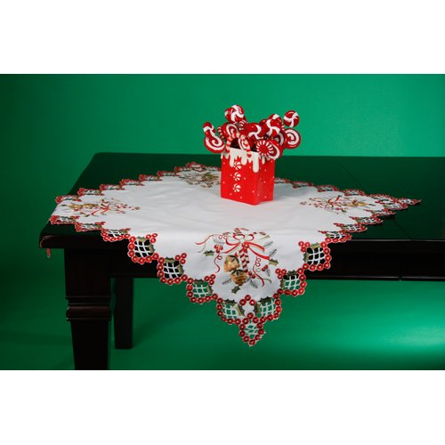 Wimpole Street Creations Fine Linen Holiday Vintage Candy Canes Square Table Topper