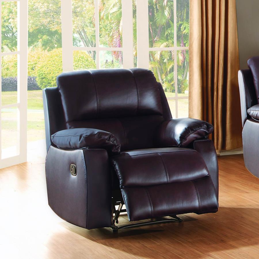 Homelegance Jedidiah Reclining Chair in Chocolate Leather