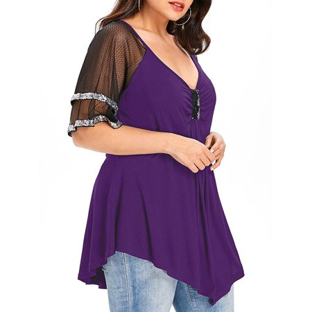 Sequin Tunic Blouse - Women Plus Size Tunic Swing T Shirt Sequin Bling Mesh Sexy V Neck Blouse Tops Pullover Tee