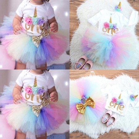Baby Girl First Birthday Themes (Newborn Baby Girl 1st Birthday Unicorn Romper Rainbow Tulle Skirt 3PCS)