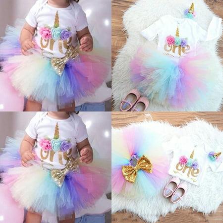 Newborn Baby Girl 1st Birthday Unicorn Romper Rainbow Tulle Skirt 3PCS (Baby's First Halloween Clothes)