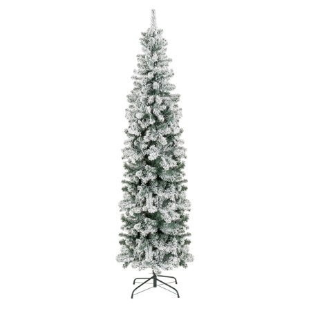 Best Choice Products 7.5ft Snow Flocked Artificial Pencil Christmas Tree Holiday Decoration w/ Metal Stand - Green