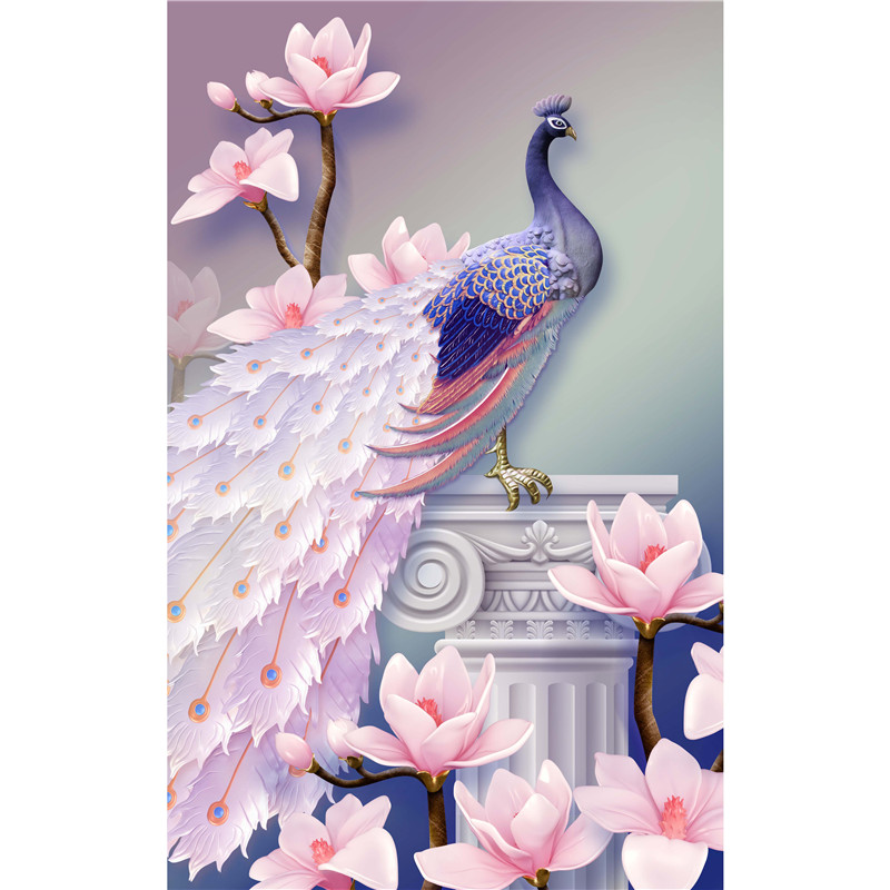 "5D DIY Flower Peacock Diamond Painting Embroidery Cross Stitch Craft 12"" x 16""(Left Peacock)"