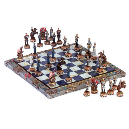 Quality Chess Set, Civil War Army Board Modern Deluxe Chess