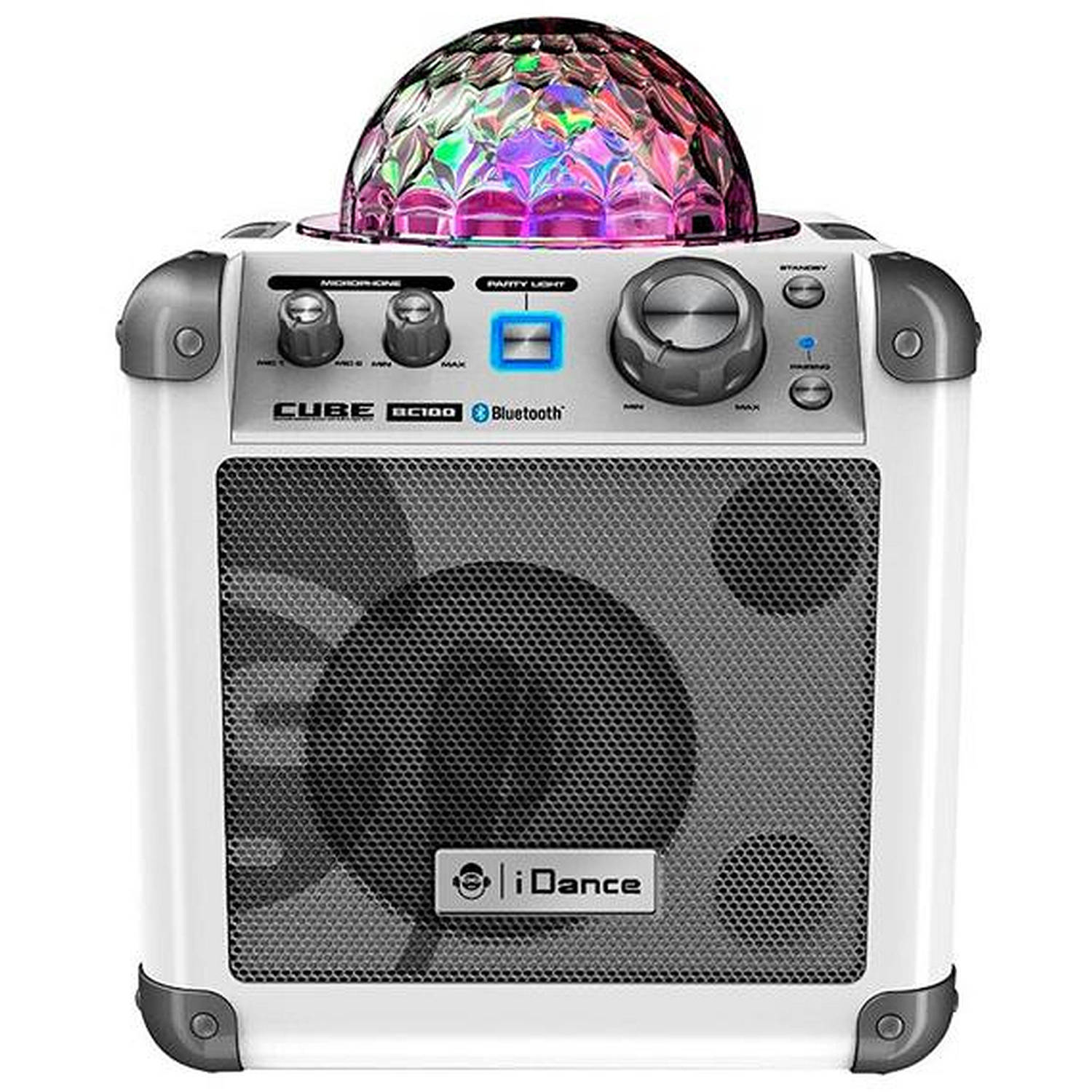Britelite - iDance BC-100 WH Sing Cube Bluetooth Karaoke System with Built-in Light Show (White)