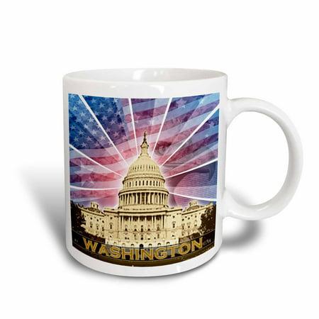 - 3dRose Washington DC patriotic American flag with Bald Eagle and Capitol building, Ceramic Mug, 11-ounce