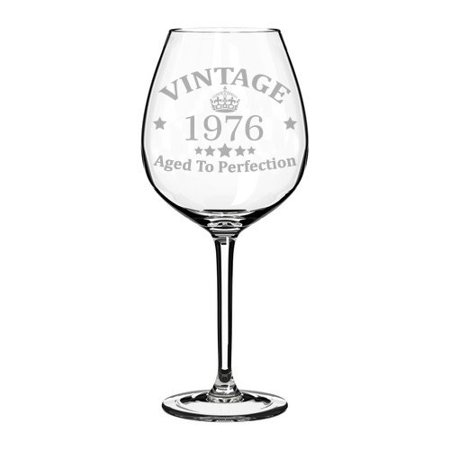 Wine Glass Goblet 43rd Birthday Vintage Aged To Perfection 1976 (20 oz Jumbo)