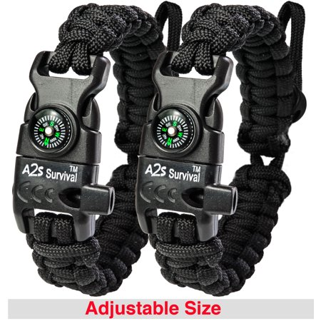 A2S Protection Paracord Bracelet K2-Peak - Survival Gear Kit with Embedded Compass, Fire Starter, Emergency Knife & Whistle Black / Black Adjustable size - Paracord Compass