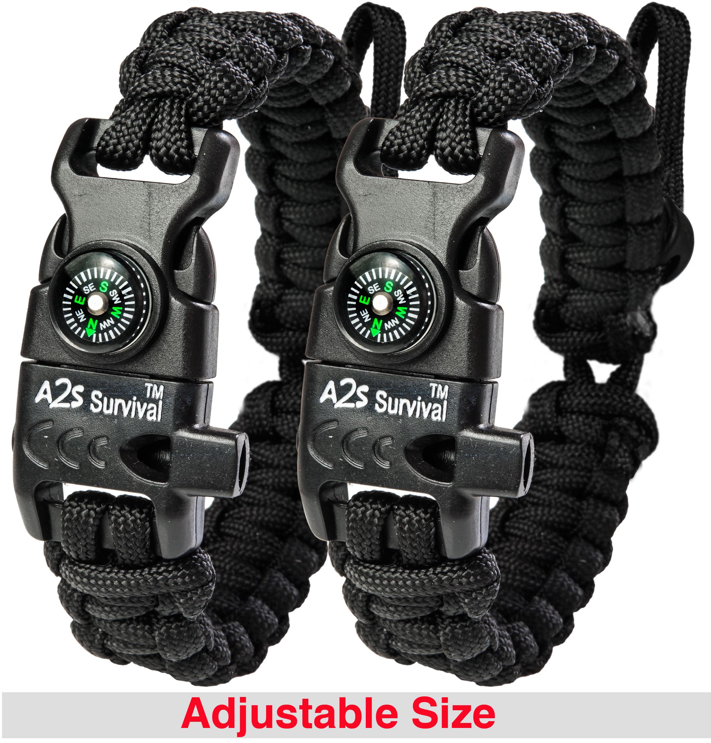 A2S Protection Paracord Bracelet K2-Peak - Survival Gear Kit with Embedded Compass, Fire Starter, Emergency Knife & Whistle Black / Black Adjustable size