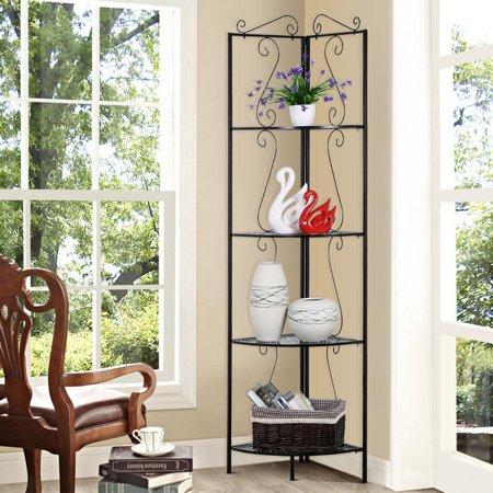Yaheetech 4 tier metal art corner storage display shelves - Free standing corner bathroom shelves ...
