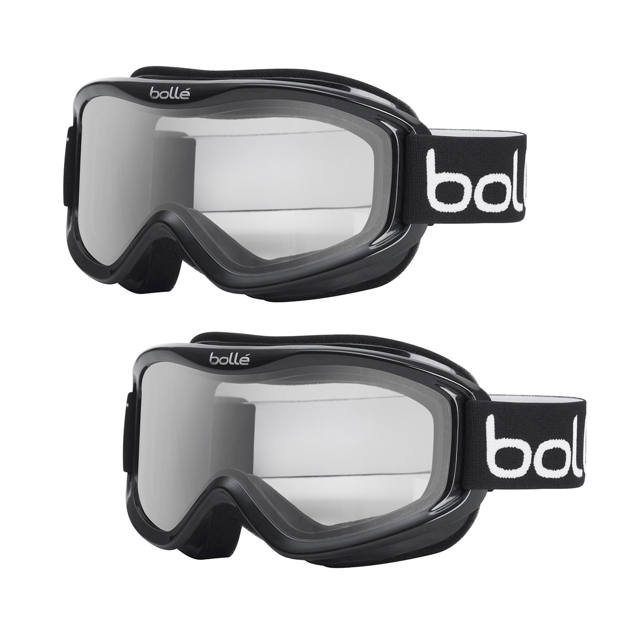 Bolle�Mojo Ski Goggles with Shiny Black Frame and Clear Lens (2-Pack) by Bolle